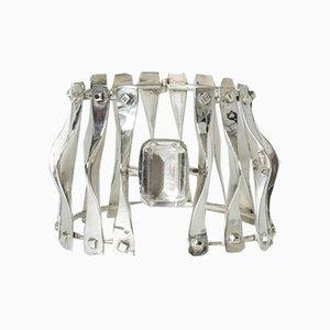 Silver and Rock Crystal Bracelet from Borggren-Franck, 1970s