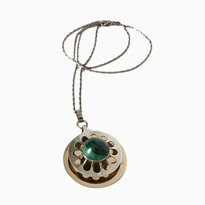 Silver and Malachite Pendant by Theresia Hvorslev for Alton, 1968