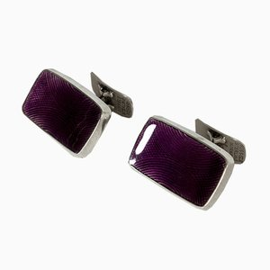 Silver and Enamel Cufflinks by Einar Modahl, 1960s, Set of 2