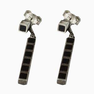 Silver and Ebony Earrings by Arvo Saarela, 1950s, Set of 2