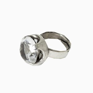 MId-Century Finnish Rock Crystal Ring by Raimo Keskinen, 1970s