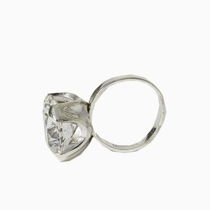 Silver and Rock Crystal Ring from Bengt Hallberg, 1970s