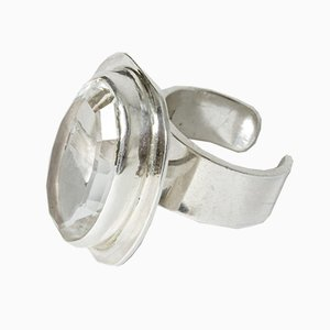 Mid-Century Swedish Rock Crystal Ring from Aru Silver, 1973