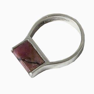 Ring aus Silber & Rhodonit von Taisto Palonen für Kultateollisuus Ky, 1970er