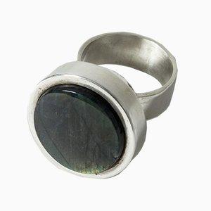 Ring aus Silber & Labradorit von Elis Kauppi für Kultateollisuus Ky, 1960er