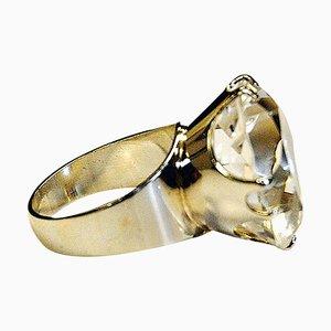 Silberner Vintage Ring aus geschliffenem Kristallstein von Kultaseppä Salovaara, Finland, 1973