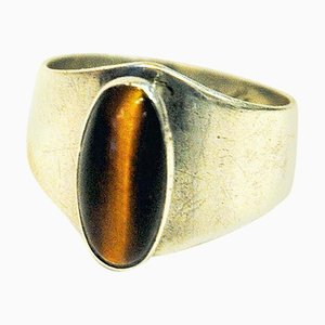 Vintage Silver Ring Tiger Eye by Kultaseppä Salovaara, Finland, 1961