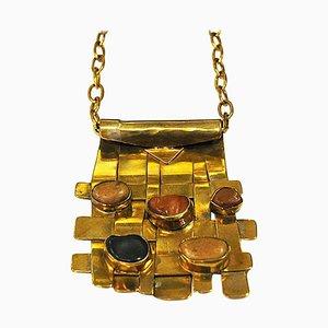 Quadratische Naturstein und Messing Halskette von Anna Greta Eker, 1960er