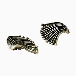Innovative Space Silver Ear Clips by Marianne Berg for David Andersen, 1960s, Set of 2
