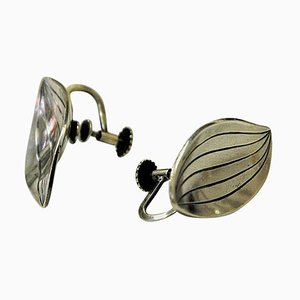 Vintage Silver Leaf-Shaped Earrings by Heribert Engelbert AB, Sweden, 1957, Set of 2