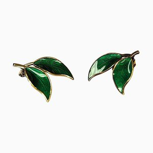 Green Enamelled Earclips by Willy Winnæss for David Andersen, Norway, 1960s, Set of 2