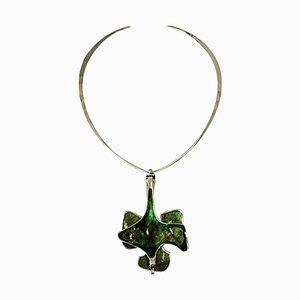 Silberne Halskette mit grüner Emaille Hängelampe von Bjorn Sigurd Ostern für David Andersen, Norway, 1970er