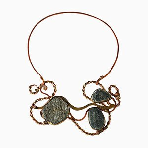 Vintage Nature Stone, Brass & Copper Necklace by Anna-Greta Eker, Norway, 1960s