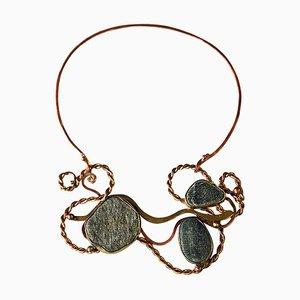 Vintage Naturstein, Messing & Kupfer Halskette von Anna-Greta Eker, 1960er