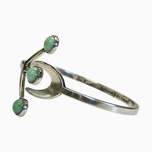 Silbernes Armband mit Grünen Cabochon Steinen von Borgolia, Schweden, 1950er
