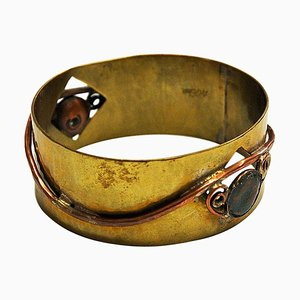 Mid-Century Brass and Copper Bracelet by Anna-Greta Eker, Norway, 1960s