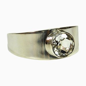 Mid-Century Silver Bracelet with Rock Crystal Stone by Åke Lindström for Bengt Hallberg, Sweden, 1972