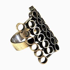 Silberner Vintage Ring mit Kreisen von Erik Granit, Finnland, 1970er