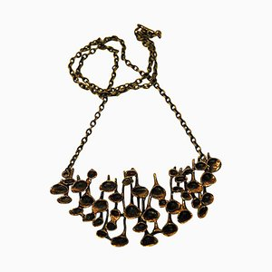 Decorative Large Bronze Necklace by Hannu Ikonen, Finland, 1970s