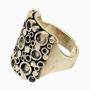 Norwegian Silver Ring with Circles by Marianne Berg for David Andersen, 1960s