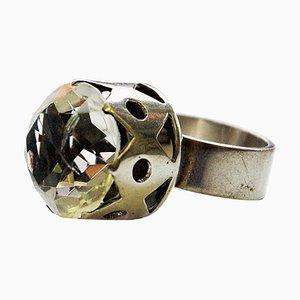 Schwedischer Silber Kristall Brilliant Ring von Kaplan, Stockholm, 1967