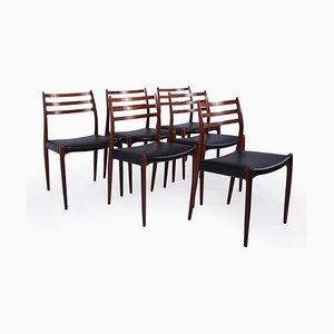 Palisander Modell 78 Esszimmerstühle von Niels Otto Møller für JL Møllers, 1960er, 6er Set
