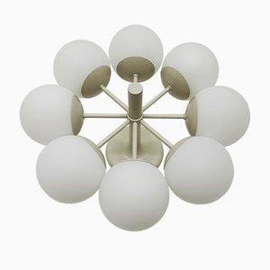 Opaline Glass Sputnik Chandelier from Kaiser Leuchten, 1960s