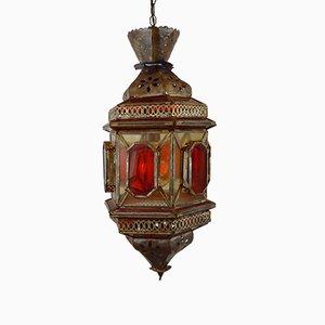 Farol vintage oriental en amarillo y rojo de vidrio y latón