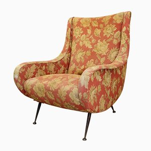 Italian Red Floral Lounge Chair, 1960s