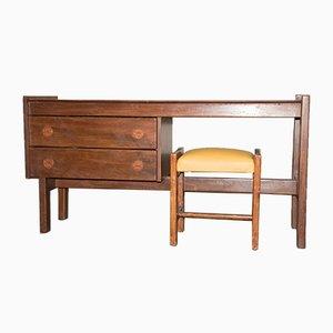 Mid-Century Scandinavian Desk and Stool Set