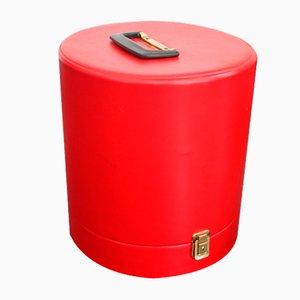 Roter Vintage Leder Hutkoffer, 1980er