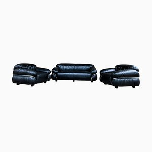 Italian Black Leather Sesann Living Room Set by Gianfranco Frattini for Cassina, 1972, Set of 3