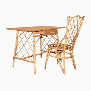 Mid-Century Bamboo and Rattan Children's Desk and Chair Set, 1960s