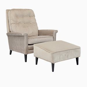 Mid-Century Reclining Armchair and Stool, 1960s, Set of 2
