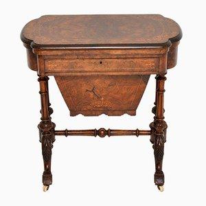 Antikes Viktorianisches Spiel aus Wurzelholz & Nussholz mit Arbeitstisch