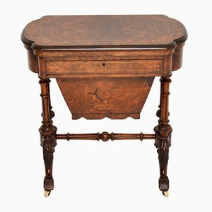 Antique Victorian Burr Walnut Game & Worktable