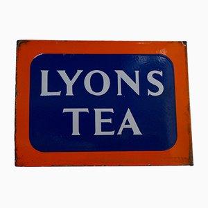 Doppelseitiges Emaille Lyons Werbeschild von Lyons Tea, 1930er