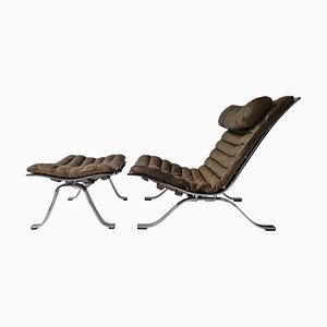 Cognac Brown Leather Lounge Chair and Ottoman Set by Arne Norell for Arne Norell AB, 1960s, Set of 2