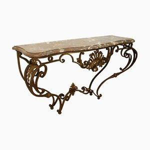Vintage Gilt Wrought Iron Console Table Attributed to Gilbert Poillerat
