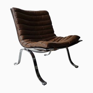 Cognac Brown Leather Easy Chair by Arne Norell for Arne Norell AB, 1970s
