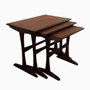 Tavoli ad incastro vintage in teak, set di 3