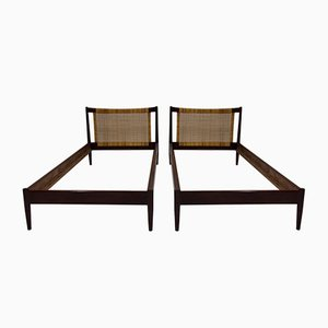Wood and Wicker Bed Frames by Børge Mogensen for Søborg Møbelfabrik, 1950s, Set of 2