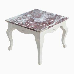 Quadratische Beistelltischplatte aus Rotem Marmor Weiß Lackierten Holzfuß Handgefertigt von Cupioli