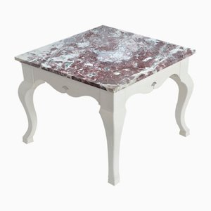 Red Marble Square Side Table Top White Lacquered Wooden Base Handmade from Cupioli