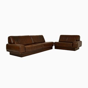 Vintage Leather Modular Sofa by de Sede, 1960s, Set of 3