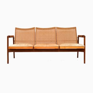 Dutch Afromosia and Cane Sofa by P.J Muntendam for Gebroeders Jonkers Noordwolde, 1950s