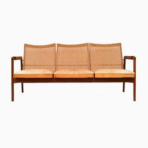 Niederländisches Sofa aus Afrormosia & Schilfrohr von PJ Muntendam für Gebroeders Jonkers Noordwolde, 1950er