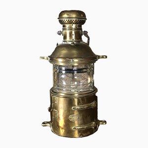 Marinelampe oder Laterne aus Gelbem Kupfer von Roux Guichard, 1920er