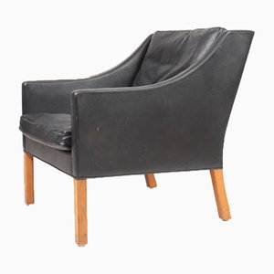 Mid-Century Danish Patinated Leather Lounge Chair by Børge Mogensen for Fredericia, 1960s