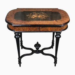 Antique Napoleon III Blackened Wood Middle Table with Marquetry Decor